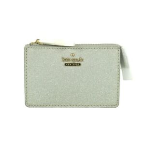 NWT Kate Spade Silver Burgess Court Magda Zip-top Coin Holder Wallet