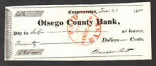 DECEMBER 21 1850 CHECK DRAWN ON COOPERSTOWN OTSEGO COUNTY BANK FOR $20.00