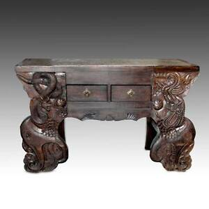 RARE ANTIQUE CHINESE QING SHANXI BRICK ELM WOOD ALTAR TABLE SERPENT 18TH C.