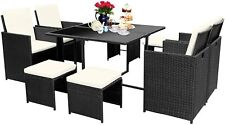 New Listing9 Pcs Wicker Rattan Patio Furniture Set Outdoor High Quality Rattan w/ Cushions