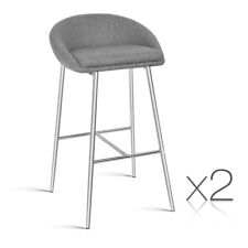 2x Bar Stool Fabric Barstool Kitchen Dining Chair Chrome Steel Legs Grey 5902