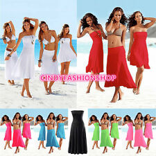 Women 3 in 1 Strapless Bikini Cover Up Bandeau Dress Swimwear Beach Skirt Dress