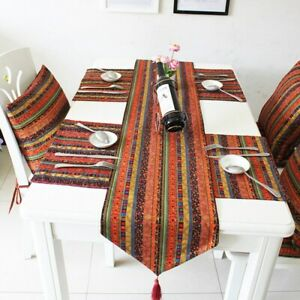Table Runner Striped Dinner Table Cloth Home Party Tablecloth Desktop Decor