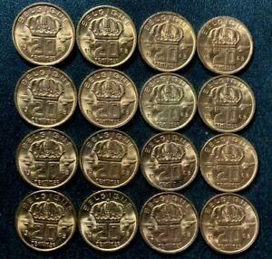 Vintage Belgium Coin Lot - 20 CENTIMES - 1963 - 16 AU/UNC RED Coins - Lot #A20