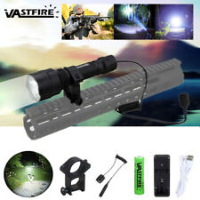 350 Yard LED Flashlight Torch Hunting Scope Mount Lamp w/Rifle Gun Mount Light