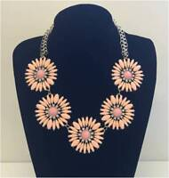 FASHION JEWELLERY ROUND FIVE FLOWERS STONE CHAIN STATEMENT NECKLACE *CHOOSE* NEW