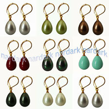 Charming 12x16mm Real South Sea Shell Pearl Drop Gold Leverback Dangle Earrings