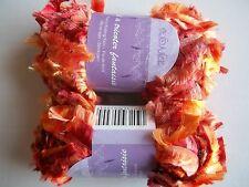 Tendance fancy knitting yarn, eyelash boa, orange/brown tones, lot of 2