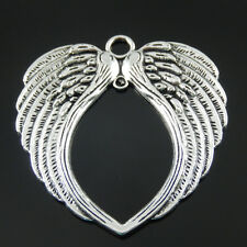 HOT Antiqued Silver Vintage Alloy Feather Angel Love Wing Pendant Charm 3pcs