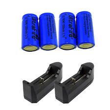 4pcs 1200Mah Li-ion 16340 CR123A Rechargeable Battery Batteries + 2x Charger USA
