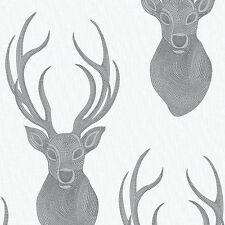 TEXTURED GREY SILVER BEADED STAGS HEAD QUALITY FEATURE WALLPAPER RASCH 273717