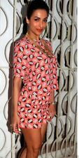 ZARA SALMON CORAL GEOMETRIC SHORT EMBROIDERED JACQUARD REF 6009 /241.