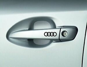 6 x AUDI, Car Door Handle, Decals, Stickers, A3 A4 A6 Quattro, Audi Rings