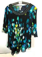 Catherines 1xp 18 20 Green Blouse Crinkle Bling Neckline PLus size petite