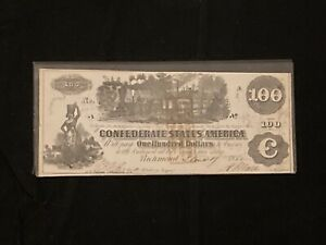 1862 Series CSA $100 Confederate States of America Banknote Richmond, Virginia