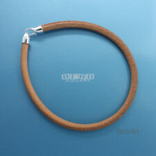 """8"""" Sterling Silver 4mm Natural Tan Round Leather Cord Bangle w/ Hook Clasp"""