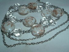 VINTAGE GLASS WITH COPPER GLITTER INLAY ACCENT BEAD NECKLACE CHAIN
