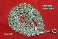 """USA 925 Sterling Silver Rope Necklace 24"""" 4mm Plated with anti-tarnish Rhodium."""