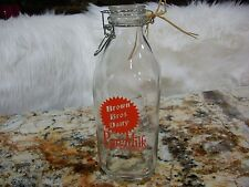 Nostalgic Looking Quart Glass Milk Jar w/Lid Brown Bros. Dairy Pure Milk Dairy