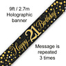21st Birthday Party Sparkling Age 21 Black & Gold Foil Bunting Banner Decoration