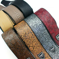 P&P Adjustable Leather Guitar Strap Embossed for Acoustic Electric Bass Guitar