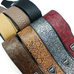 Guitar heads PUNK Polyester Color Printing Guitar Strap 2mm Thick with PU Leather Ends Variety Image Designs