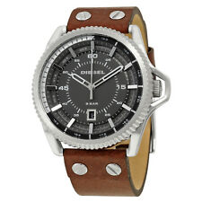Diesel Rollcage Exposed Grey Dial Brown Leather Mens Watch DZ1716