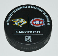 NASHVILLE PREDATORS MONTREAL CANADIENS January 5 2019 OFFICIAL WARM-UP GAME PUCK