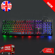Wired UK Gaming PC Games Computer USB LED Backlit Light Up Illuminated Keyboard