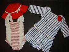 NWT Janie & Jack 18-24 swimsuit one-piece+hat+ROMPER RED Navy Blue stripe Marine