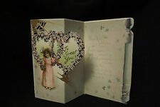 Vintage Victorian Lady & Forget-Me-Knots Valentine Card early 1900s by: Tuck