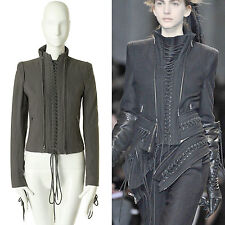 ANN DEMEULEMEESTER AW11 grey wool laced corset detail zip jacket coat FR34 US0 S
