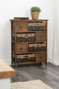 NEW BROWN WICKER BASKET STORAGE UNIT BEDSIDE TABLE CABINET DRAWER MAIZE SHABBY