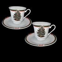 "Vintage Set Of 2 Ribbons And Tree Cup And Saucer Porcelain China 3""t"