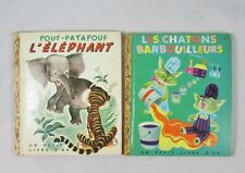 2 French Golden Books Pouf-Pat Pouf L'Elephant Les Chatons Cocorico VTG 1947 40s