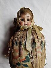 Antique Bisque Shoulder Doll Glass Eyes Original Silk Pin Cushion as found