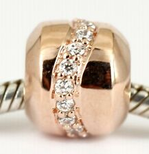 9CT 9K SOLID ROSE GOLD BEAD with 19 Sparkling CZ For Charm Bracelet / Necklace