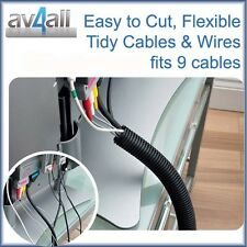 1.1 metre Flexible Cable Wrap Tidy Cover in Black tidy 9 TV Computer wire cables