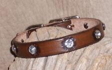 "Custom Leather Dog / Cat Collar 1/2"" + Rhinestones Brown, Tan, Burgundy.. G&E"