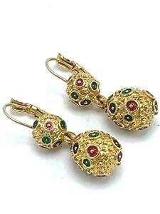 Joan Rivers Gold Ball & Faberge Egg Drop Lever Back Enamel Earrings