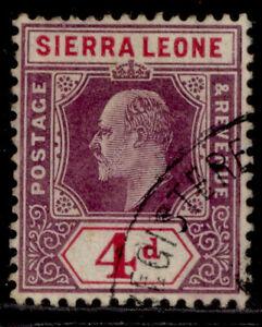 SIERRA LEONE EDVII SG92, 4d dull purple & rosine, FINE USED.