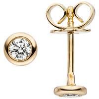 Ohrstecker Ohrringe Solitär mit 2 Diamanten Brillanten 585 Gold Gelbgold, Damen