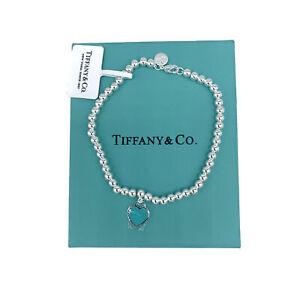 Tiffany & Co. 925 Blue Enamel Mini Heart Tag Bracelet - 7.5 inches Long