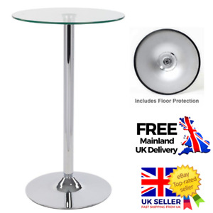 60cm Round Clear Glass Top Dining Table Breakfast Bar Chrome Poseur Home Stand