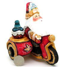 bambola russa BABBO GELO SU MOTO NATALE DIPINTO A MANO STATUA BIKER ROSSO BABBO