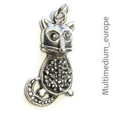 Vintage Silber Anhänger Katze Markasit silver pendant cat charms marcasite