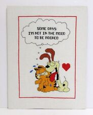 Garfield And Odie Finished Cross Stitch I'm Not In The Mood To Be Adored