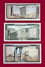 Lebanon UNC Notes: 1 Livre 1980 (P-61), 2 Livres (P-62), 10 Livres 1986 (P-63)