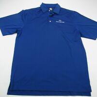 Footjoy Mens Golf Shirt Polo Short Sleeve Blue Micro Stripes Golfing Large