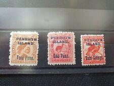 Penrhyn Island 1903 set of 3, ragged perfs. hinged mint